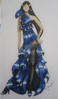 Fashion Sketches - Blue Cascades Gown by Kirynism