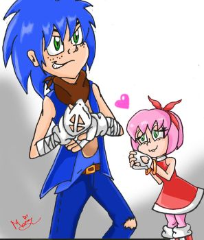 Humanized Sonic and Amy by kosmo1995