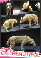 Yellow Wolf Sculpture by ponycindy