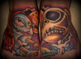 Jack and Sally Tattoo Color by mmfjpf