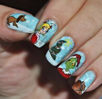 The Grinch who stole chistmas nail art by MadamLuck