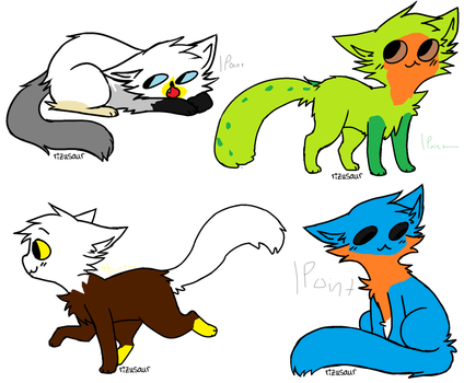 4 Open Adopts! ( Only 1 Point -open-) by Mistykittyartist829