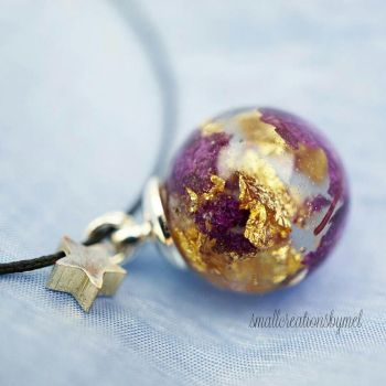 Purple and Gold Charm by SmallCreationsByMel