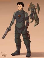 Futuristic Soldier with Dragon Pet by SolKorra