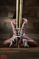 Nude, tied to bamboo tubes - Fine Art of Bondage by Model-Space