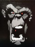 Crazy Monkey Stencil by Kelden17