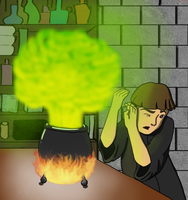 Neville Longbottom and the exploding cauldron by dottedwood