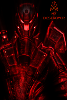 N7 Destroyer NEON Poster by RedLineR91