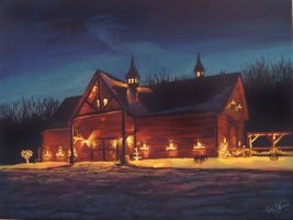 Christmas Barn my painting by cliford417