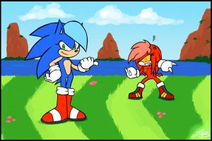 Female Sonic and Knuckles by SonicDnB