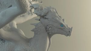 Dragon sculpt closeup by Skylarc88
