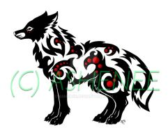 ::standing wolf tribal:: by Ashenee