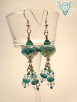 Teal Pandora Style Dangle Earrings by TheSortedBead