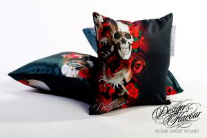 Skull pillow by DZNFlavour