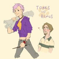 Tonks and Remus by flominowa