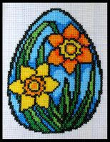 Stained Glass Easter Daffodils by KezzaLN
