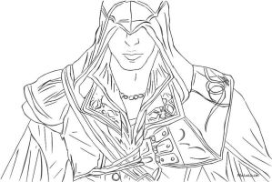 Ezio from Assassin's Creed  Line Art by Malakhite