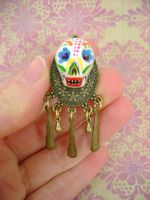 Sugar Skull Pendant One by monsterkookies