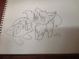 Who says kittens can't fall in love---sketch by FluffyKawaiiPuppy