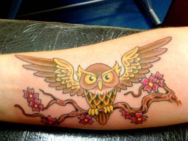 Brown owl tattoo by HowComeHesDead
