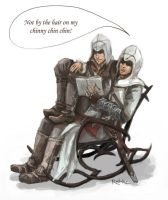 Altair telling Ezio a bedtime story :) by Raveking10141