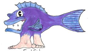 Froley the Fish with Feet 2 by MidnightMadwoman
