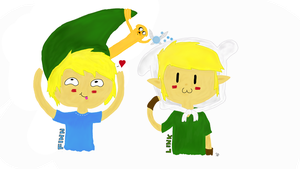 Finn and Link swapping Hats by DeadAppleToast