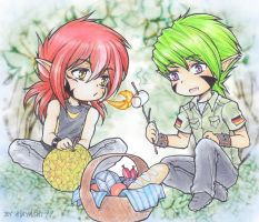 Picnic and BBQ Chibi Commission by hayashi77
