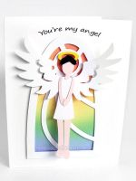 Angel Greeting Card - Short Hair by sobeyondthis