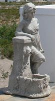 Woman and Fountain Statue Side by Confussed-Stock