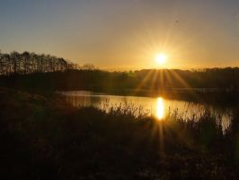 Sun over a lake by starykocur