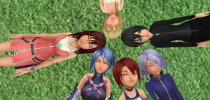 kh girls  peace times in the park by XxRhian-MidnightxX