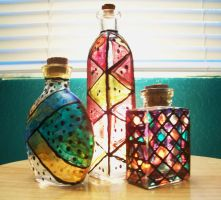 Stained Glass Bottles by TatiTerrestrial
