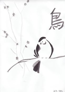 Sumi-e Vogel by pame-chan19