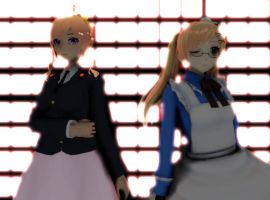MMD ---- Nyo!england and france by Klepon-hime
