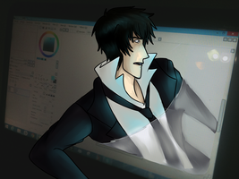Kogami coming through by EeveeFoxlover