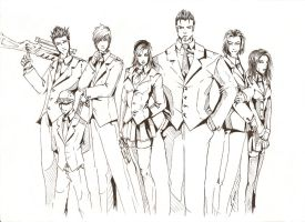 Unknown Suit Gang Lineart by Cythus