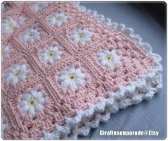 Pink and White Daisy Baby Blanket by giraffesonparades