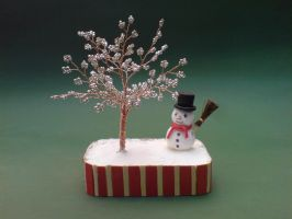 Bonsai Wire Tree Sculpture Beaded Cristmas by sinisaart