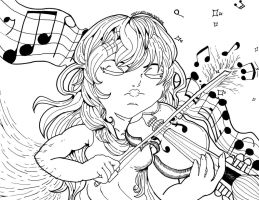 Violin Girl I Lineart/Ink by TheTigerMaster