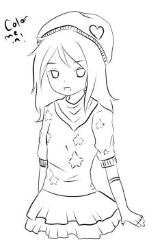 Anime girl coloring page by creampuffchan