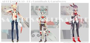 [CLOSE] Adoptables 59 - 61: Cannibals + Carnivores by Staccatos