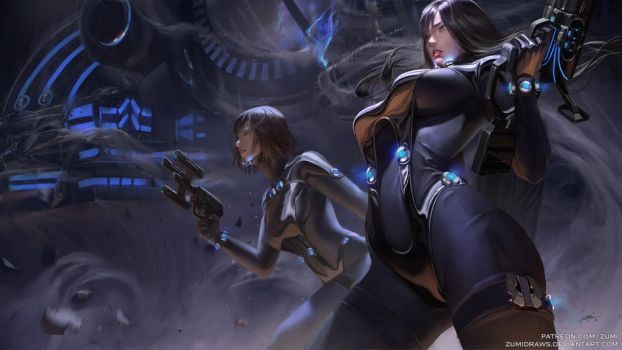Gantz: Reika and Anzu by zumidraws
