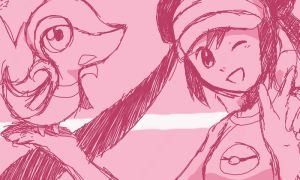 Trainer and Snivy sketch by yellowhima