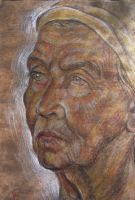 Portrait - Old Woman by BorisBurakov