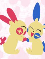 Plusle and Minun Lovey Dovey by chkimbrough