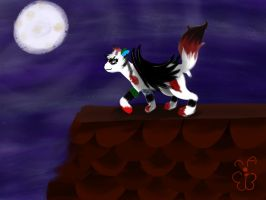 Under the moon *art trade* by WHATWhyomg