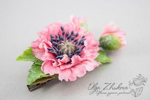 Hair clip with pink poppy by polyflowers