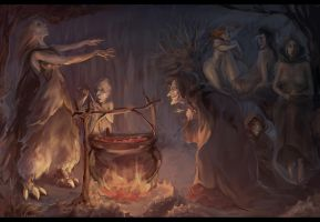 Assembly of witches by MeryChess