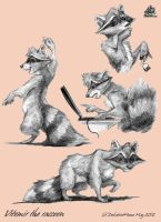 Vitomir raccoon with a fone by DekabristMouse